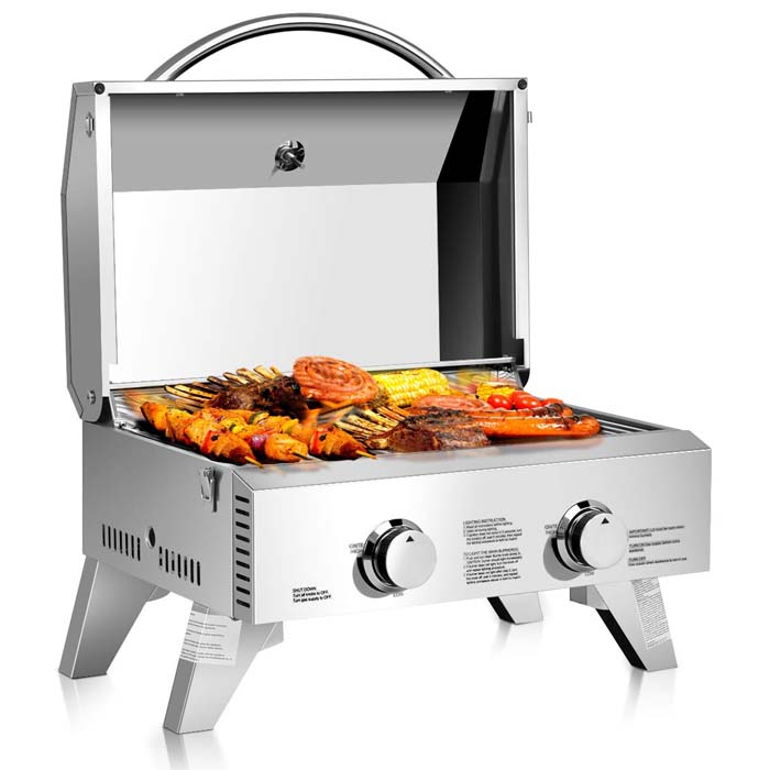 Giantex Propane Tabletop Gas Grill Stainless Steel Two-Burner BBQ, with Foldable Leg, 20000 BTU, Perfect for Camping, Picnics or Any Outdoor Use